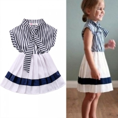 Baby Girl Summer Long Dress Striped sleeveless princess Dress For Girl Children Clothes royalblue GG046A 100
