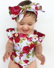 Newborn Baby Casual Romper Rose Print Floral Jumpsuit+Headband Overall Lucky Cute Bebe Kids Clothes wine GC138A 70