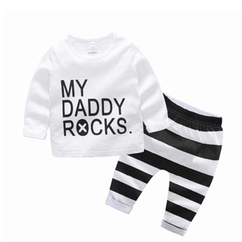 c5c3a266a2 Baby Clothes Suits T-shirt My Daddy Rocks Tops Striped Pants 2pcs ...