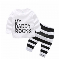 Baby Clothes Suits T-shirt My Daddy Rocks Tops Striped Pants 2pcs Bebe Outfit Kids Clothing Sets white DH032A 90