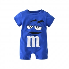 Infant Baby Kleding Blue Cartoon Print Short Sleeve Romper Outfit Kids Jumpsuit Clothes blue GGG026B 80