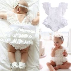 Baby Girls Clothes Lace Flare Sleeve Vogue Romper PInk Bow White Ruched Jumpsuit Bebe Girls Clothing white GGG075A 18