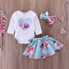 Baby Girls Clothing Sets Long Sleeve Big Love Tops Blouse+Skirt 3pcs Cute Bebe Girls  Clothes Suit green GGG179A 80