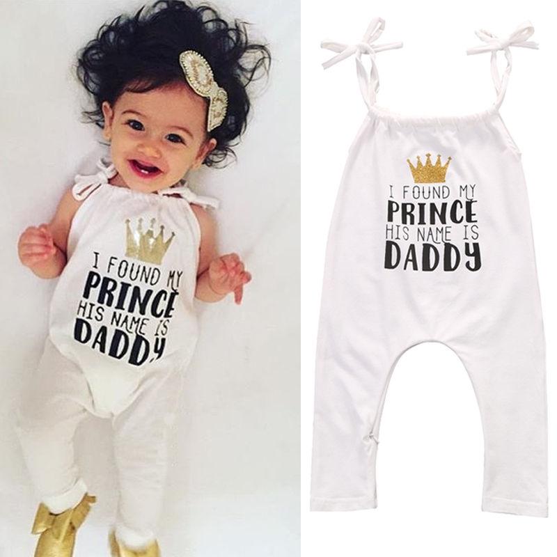 413833d56c1 Baby Toddler Sleeveless Suspender Belt Daddy Crown Print Casual ...