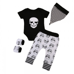 Infant Baby Clothing Sets Skull Tops+Hat Panelled Pants 4pcs Vogue Casual Bebe Kids Clothes Suit black GGG172A 70