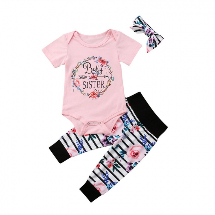 Kid Baby Girl Clothes Set Tops Letter Floral Romper+ Stripe Pants+Headband 3pcs Outfits Clothing set pink XY132A 70