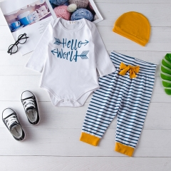 3pcs Hat+romper+pants Clothing Sets Ocean Whale Baby Girl Boys Outfits Fashion white GGG101A 70