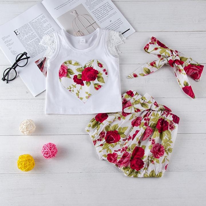 Kids Fashion Girl Clothing Set White Shirt Shorts Toddler Outfit white GC141A 70