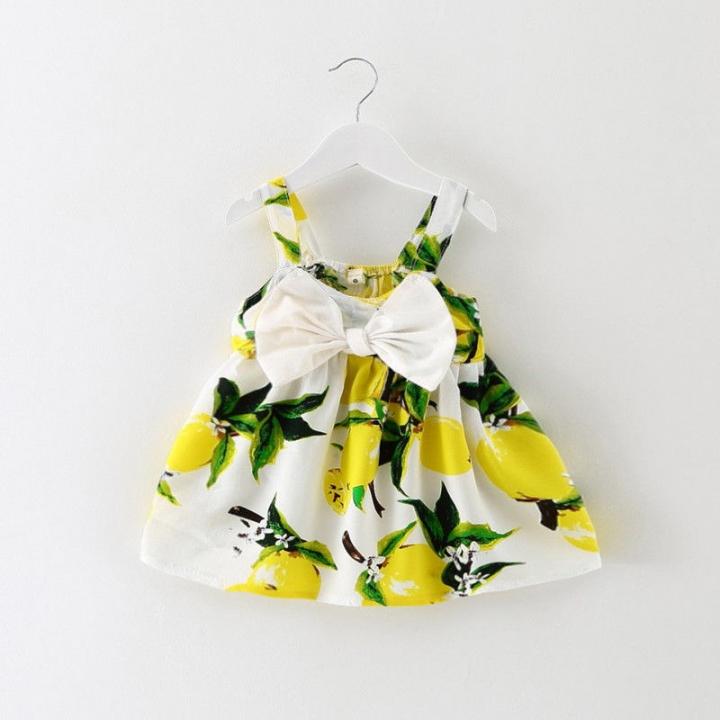 Toddler Fruit Lemon Bowknot Girl's Sunsuit Slip Dresses Fashion GG144A yellow 9