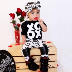 2PCs Newborn Kids Baby Girl Casual T-shirt Tops Pants Leggings Outfits Clothes black GG072A 100
