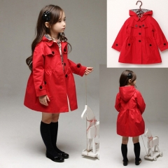 New Autum Spring Girls Kids Fashion Trend New Lapel Bowknot Long Sleeve Coat Jacket red GX445B 100