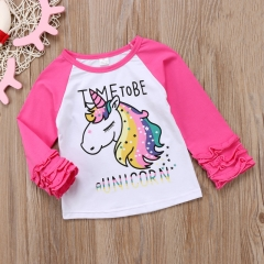Toddler Kids Baby Girls Unicorn Tops Long Sleeve Blouse T-shirts Sweater Clothes pink GL299A 80