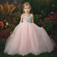 Baby Kids Girls Princess Dress Pageant Wedding Birthday Party Lace Long Dresses pink  WWW108A 100