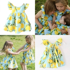 Summer Toddler Baby Girl Kid Short Sleeve Lemon Dress Party Tutu Dresses Clothes blue ZM075B 100