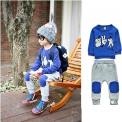 Kids Boys Clothing Set Toddler Tracksuit Tops+Pants Casual Sport outfits GH077B royal blue 100