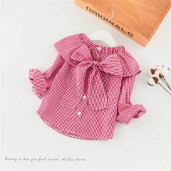 Kids Girls Clothes Plaid Shirt Bow Cape Collar Tops Blouses Children Girls Toddler Clothes pink HH050A 13