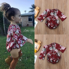 Hot Newborn Infant Baby Girl Cotton Floral Bodysuit Jumpsuit Romper Clothes 0-3Y wine XY151A 90