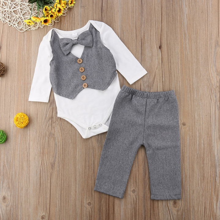 ab5877995 Gentleman Kids Baby Boys Bow Tie Romper Tops+Cotton Pants Clothes Outfits  Set gray MN040A
