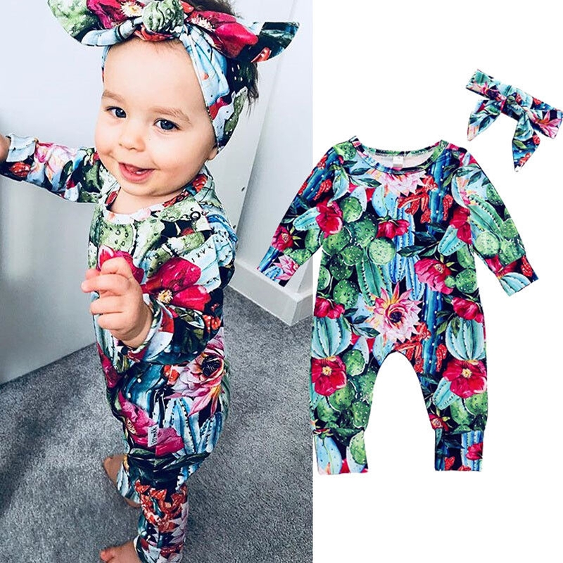 2b1bc87f5a96 Toddler Baby Girls Floral Romper Bodysuit Jumpsuit Kids Outfits ...