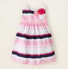 Promotion Clearance Kid Baby Girl Flower Stripes Dress Sleeveless Bebe Children Clothes For Girl pink  GX039A 130
