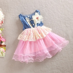 Promotion Clearance Baby Girl Wedding Birthday Formal Dress Princess Dresses Girls Clothing pink GX103A 130
