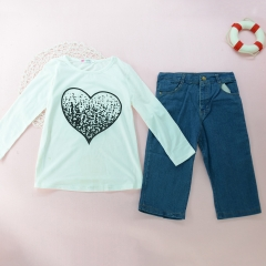 Winter Warm Toddler Kids Baby Gril T-Shirt Tops+Long Pants Outfit Clothes white GX136A 2