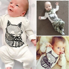 Promotion Clearance Newborn Baby Boy Girl Fox Long Sleeve Romper Jumpsuit Bodysuit Clothes Outfits GZ013A 90