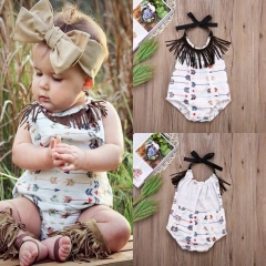 Promotion Clearance Summer Newborn Baby Girls Tassel Arrow Bodysuit Romper Jumpsuit Outfit Clothes GG138A 90