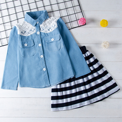 Toddler Kids Baby Girls Lace Long Sleeve Denim Shirt Tops Striped Skirt Clothes Outfits Set 2PCS Blue gx284a 100