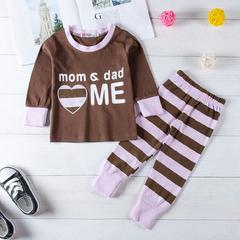 2PCS Toddler Kids Baby Girls Stripe Pajamas T-shirt Top Pants Leggings Outfit Set brown gx245a 80