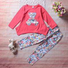Toddler Kids Baby Girls Bear Floral Long Sleeve T-shirt Tops Pants Clothes Outfits Set 2PCS White GX298A 100