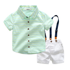 Kids Boy Toddler Stripe Shirt Top+Shorts Overalls Set Outfit 2Pcs blue gx691a 100