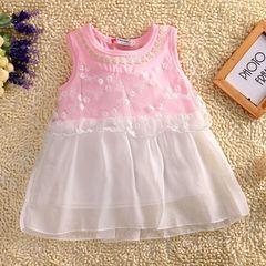 Children's clothing Girls Sleeveless Flower Pink Lace Tutu Party Dress pink gx035a 80