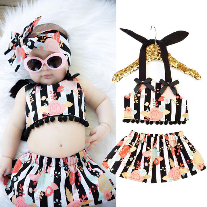 Newborn Infant Baby Girls Flower Stripe Tops Stripe Skirt Set Outfit Clothes 2Pcs black gz017a 80