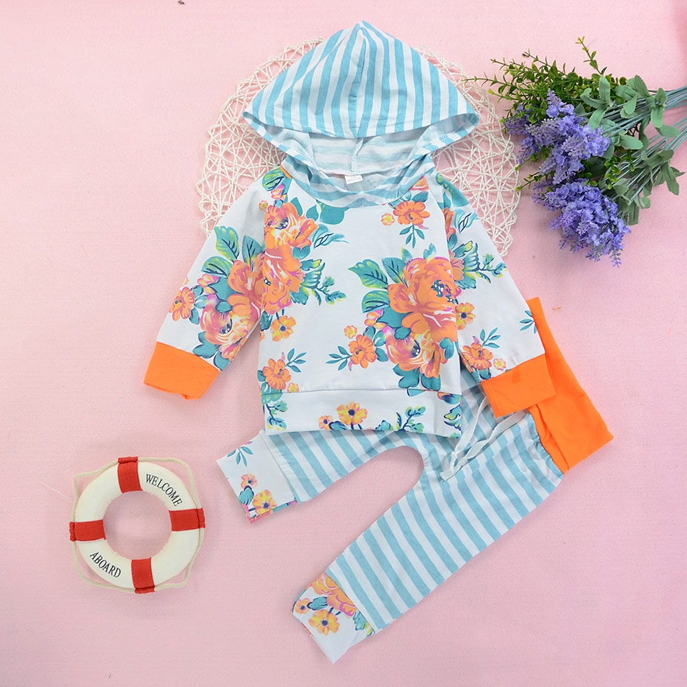 935ebaa6c Newborn Infant Baby Girls Flower Hoodies Tops Stripe Pant Set Outfit ...