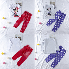 Children's clothing New Minnie Mickey Mouse Kids Girl's Nightwear red gg118a 95