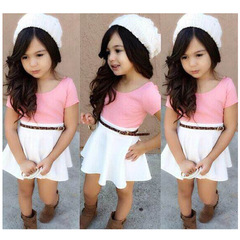 Kids Girls Lace Multicolor Short Sleeve Belt Dress One-piece Dress Party Casual Dress 2PCS pink gx281a 140