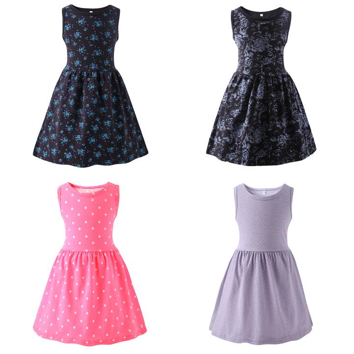 Toddler Kids Girls Flower Dots Sleeveless One-piece Dress Birthday Pageant Party Tutu Dress Deep blue A xb128a s-girl