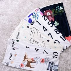 High Quality Kids Girls Boys Baby Fleece Monthly Blanket Cartoon Printing Blanket A Nap Blanket A CR050A One Size