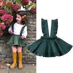 Toddler Kids Girl Dress Top Tutu Skirt Suspender Wedding Party Outfit Clothes Deep green XY164A 100
