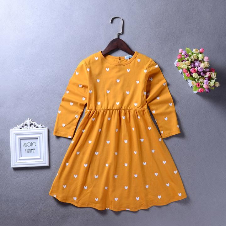 Toddler Kids Girls Heart Long Sleeve One-piece Dress Birthday Pageant Party Tutu Dress orange GX506A 110