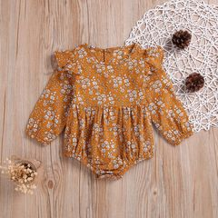 Newborn Baby Girls Flower Floral Rompers Jumpsuits Bodysuit Clothes Outfit 0-24M Orange WWW121A 70