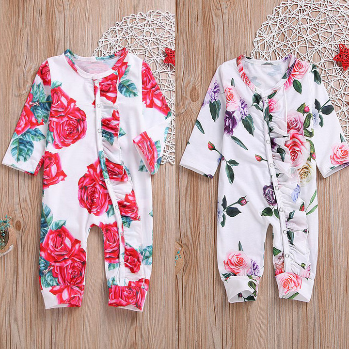 89ab5d9cfd8 Newborn Kids Baby Girls Infant Flower Ruffled Romper Jumpsuit Bodysuit Clothes  Outfit 0-24M RED