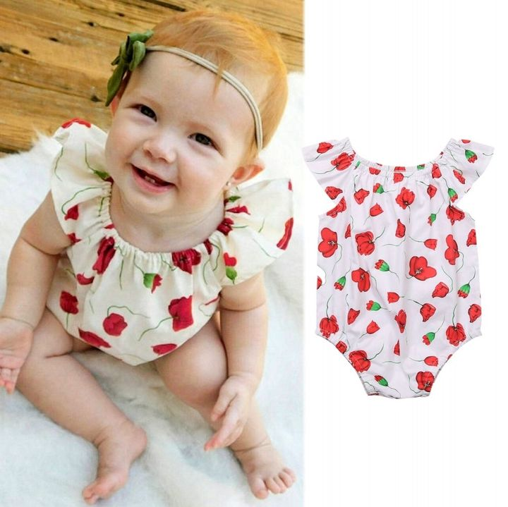 Clearance Sale Newborn Baby Girl Ruffled Collar Rose Floral Romper Clothes Outfits 0-24M Red GL235A 90