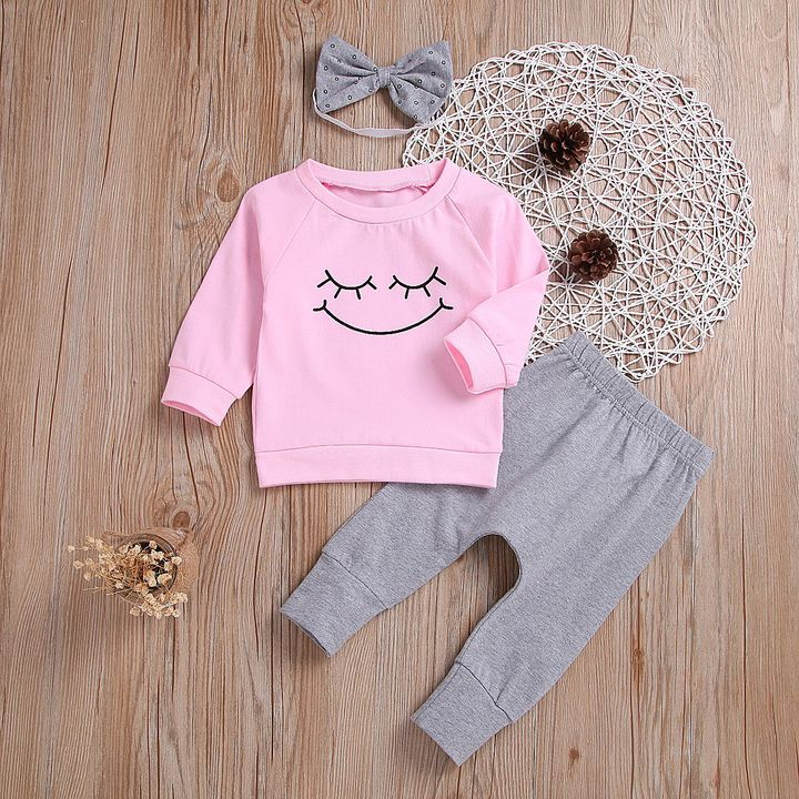 Newborn Baby Kids Girls Outfits Clothes Smiling Face T-shirt Tops+Pants+Bow Headband Set 3PCS Pink MN049A 70
