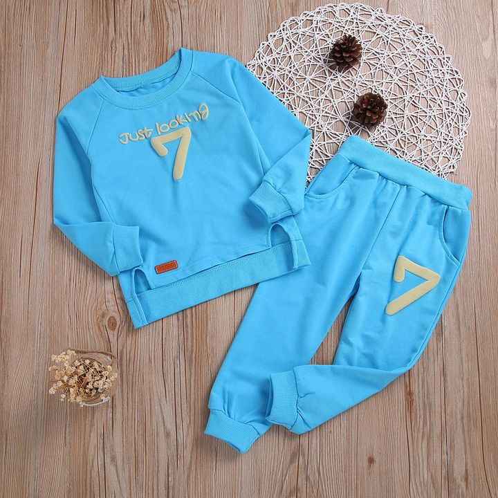 Kids Boys Clothing Set Baby Outfit Top+Pants Sport Toddler Tracksuit CR001C blue 90