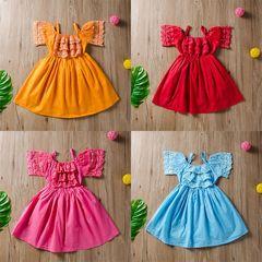 Toddler Kids Baby Girls Lace Flower Dress Princess Party Pageant Holiday Tutu Dresses orange GX635F XS