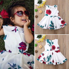 Toddler Kids Baby Girls Sleeveless Lace Floral Princess Flower Dress Party Clothes Summer Sundress white MN021A 100