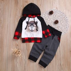 Toddler Kids Baby Boys Long Sleeve Bear Grid Color Matching Hoodies Tops+Pants Outfits Clothes 2PCS Gray gh416a 90