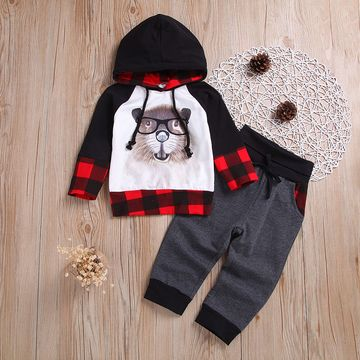 02cd455ce Toddler Kids Baby Boys Long Sleeve Bear Grid Color Matching Hoodies Tops+Pants  Outfits Clothes